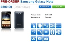 Samsung Galaxy Note, SE Xperia Arc S pre-order in the UK