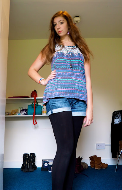 Summer Colours | outfit of colourful Aztec top, denim shorts, leggings & espadrilles