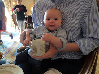 Freddie with his Peter Rabbit china