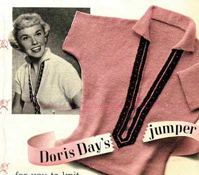 Free Pattern 1950's Knitting - Doris Day Sweater Jumper