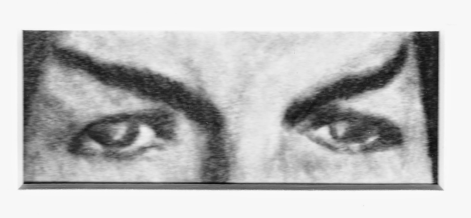 EYES OF MR. SPOCK - Charcoal and Conte on Paper. 1.5x3 inches, circa 2014 by F. Lennox Campello