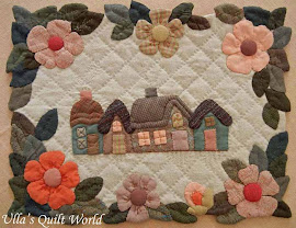 Quilted wall hanging, Houses and flowers pattern