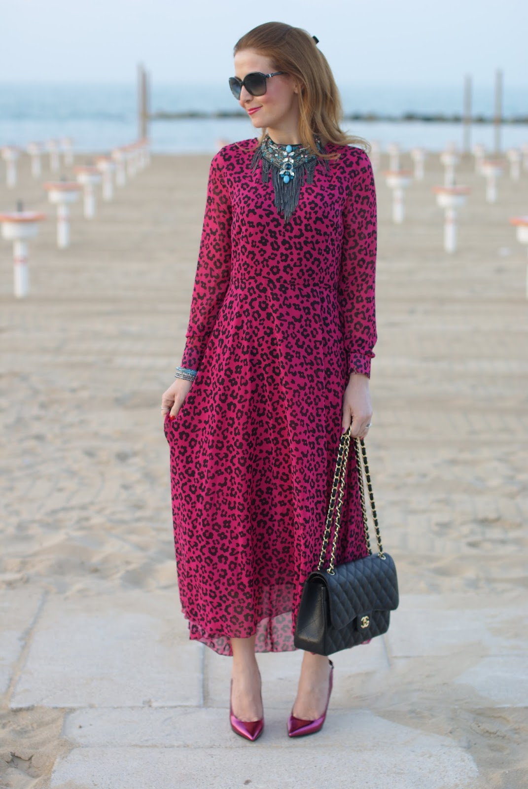 Leopard chiffon dress on Fashion and Cookies fashion blog