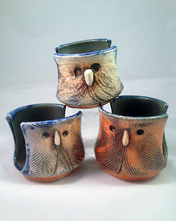 Cute pottery owl soap or sponge holder by Lori Buff