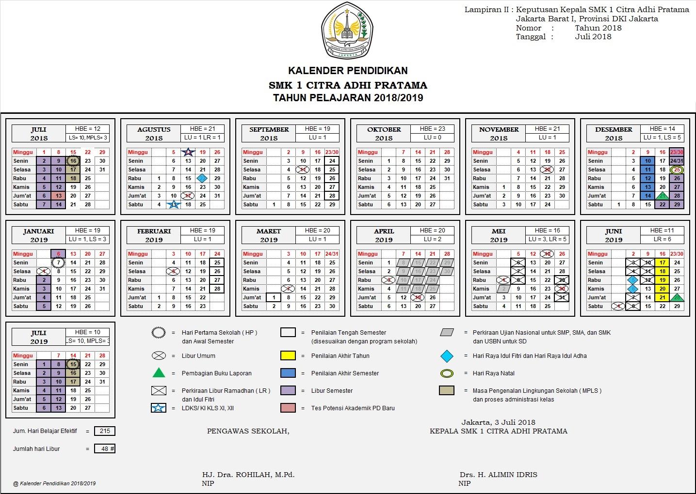 Kalender Pendidikan SMK 1 Citra Adhi Pratama Jakarta