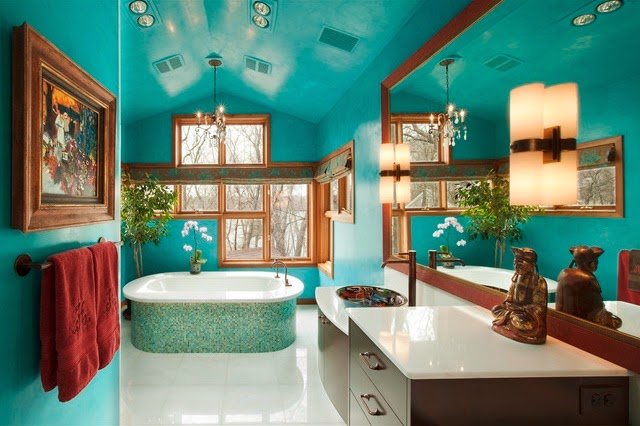 Bathroom Turquoise and Chocolate