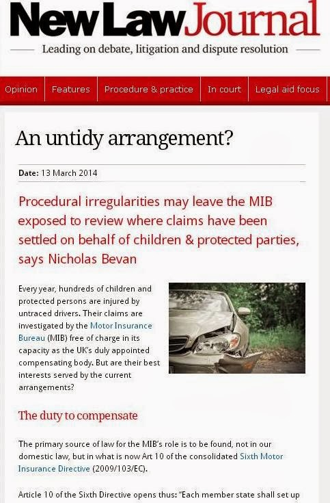 Untraced Drivers Agreement 2003, children, minors, mental capacity, protected parties, compensation, compensatory safeguards, motor insurers bureau, untraced driver claims, Nick Bevan, Nicholas Bevan