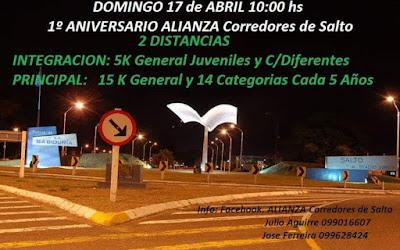 15k y 5k Alianza Corredores de Salto (Salto - Uruguay, 17/abr/2016)