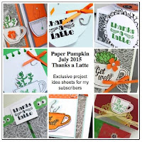 Stampin' Up! Paper Pumpkin July 2015 Thanks a Latte Bonus Projects -- exclusively for my Paper Pumpkin subscribers  www.juliedavison.com #paperpumpkin