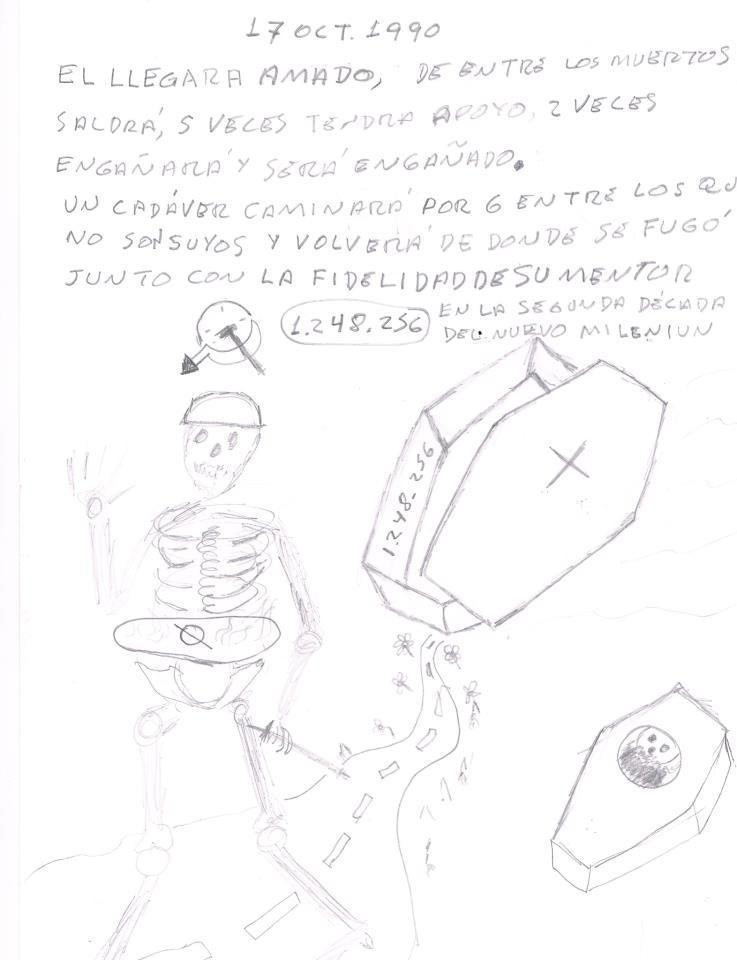 Hice un dibujo de un cadáver ambulante con un tumor en la zona ...
