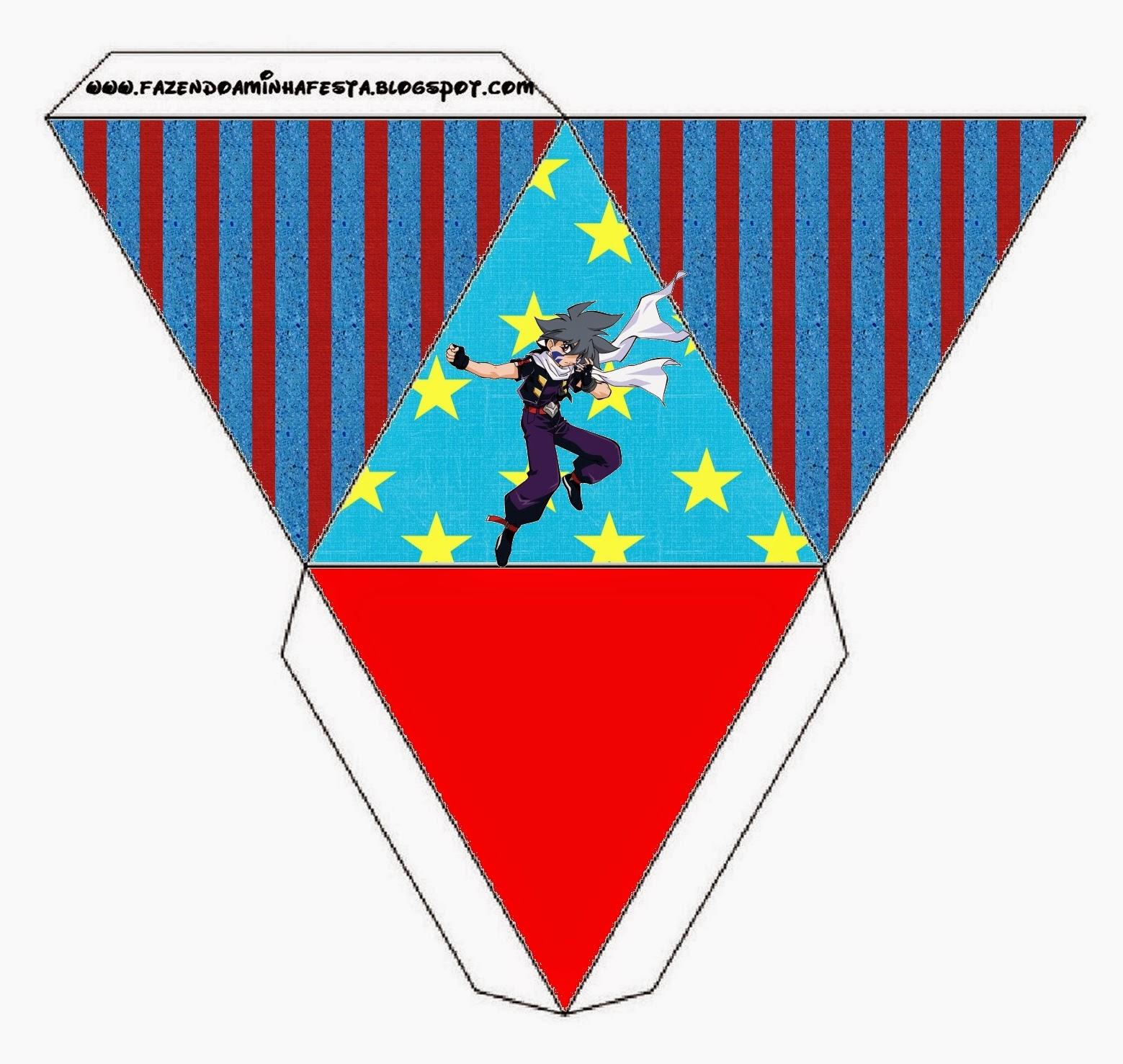 Caja con forma de pirámide de Beyblade.