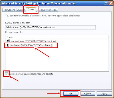 Advance Security Setting Advance System Volume Information Properties