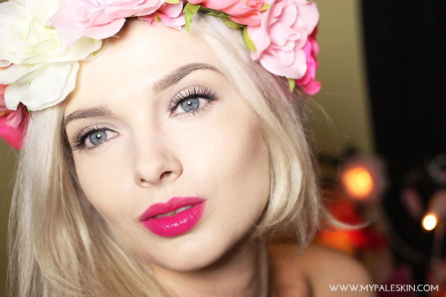 Bourjois Rouge Edition Velvet, Pink Pong, Review, Pink Lipstick, Pale Skin, Swatch, Bourjois, Rouge, My Pale Skin, 06, flower crown, summer, blonde hair