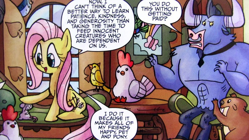 Iron Will inside Fluttershy's cottage