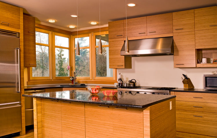 Kitchen cabinet designs an interior design for Bamboo wood kitchen cabinets