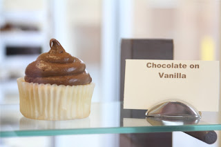 Chocolate on Vanilla Cupcake