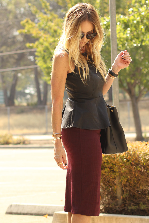parlor girl textured burgundy pencil skirt