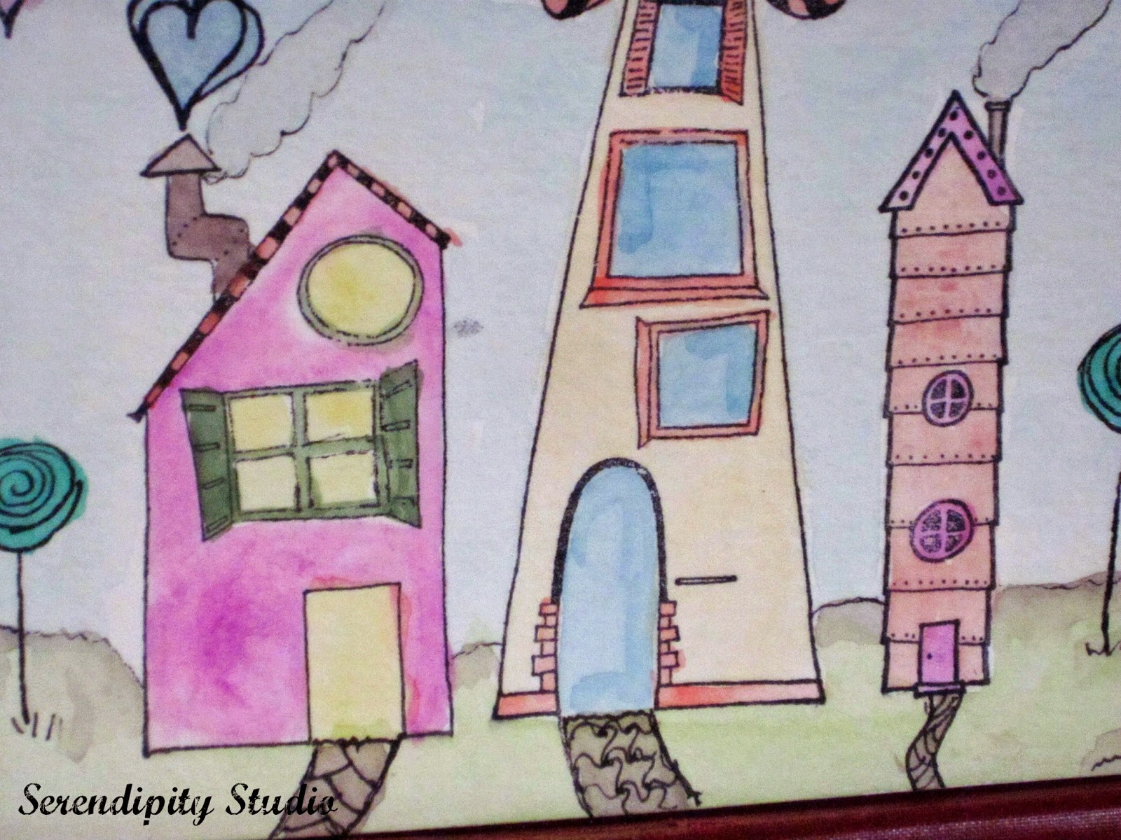 Whimsical Watercolor Houses, RubberMoon Stamps created by Serendipity Studio