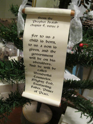 Bible verse scroll ornament