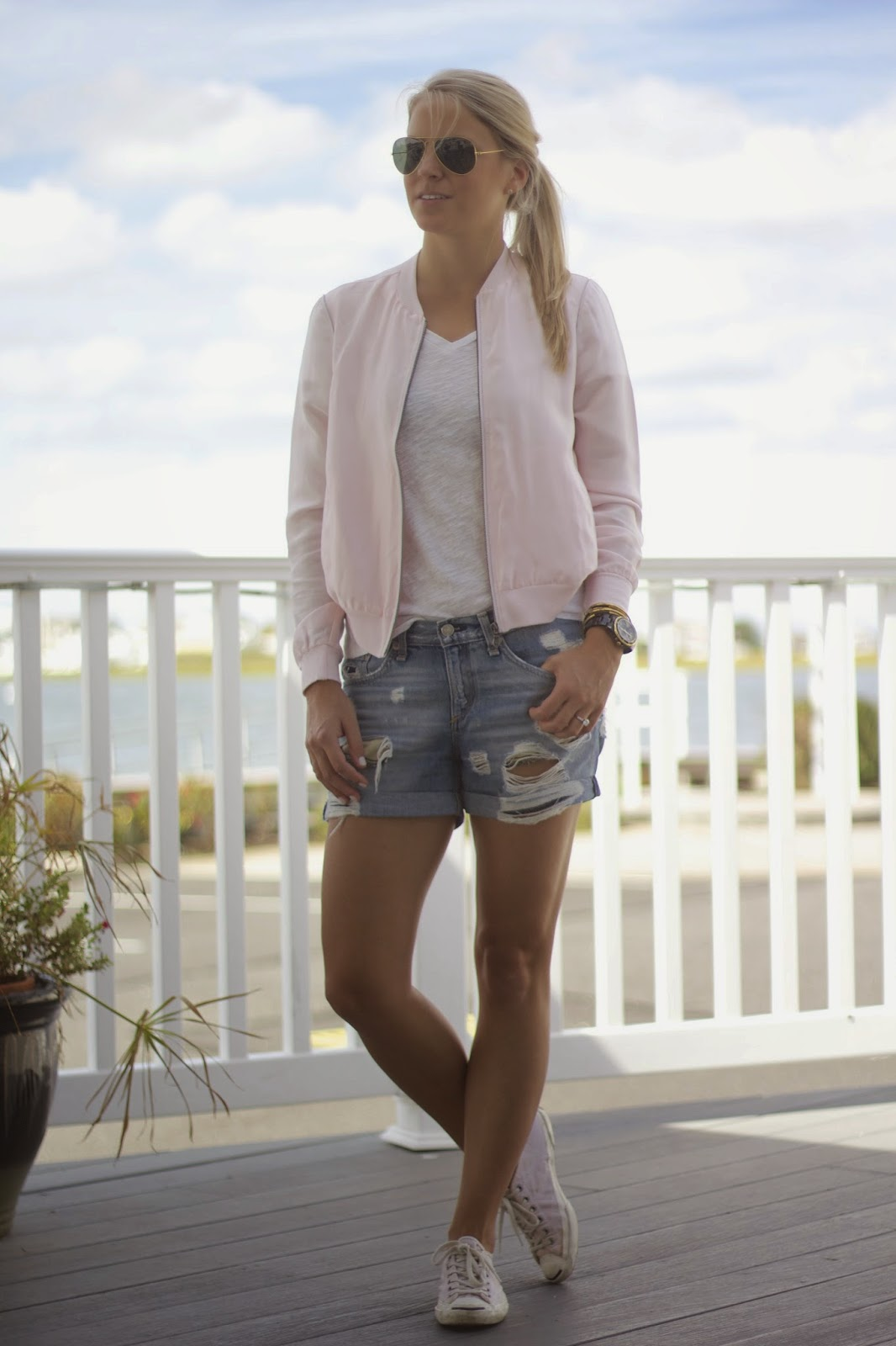 pink bomber jacket, distressed denim shorts, bella luxx, stone harbor new jersey, weekend wear,