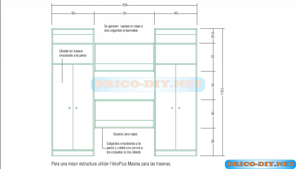 Proyecto bricolaje muebles closets de melamina web del for Planos muebles de cocina para armar