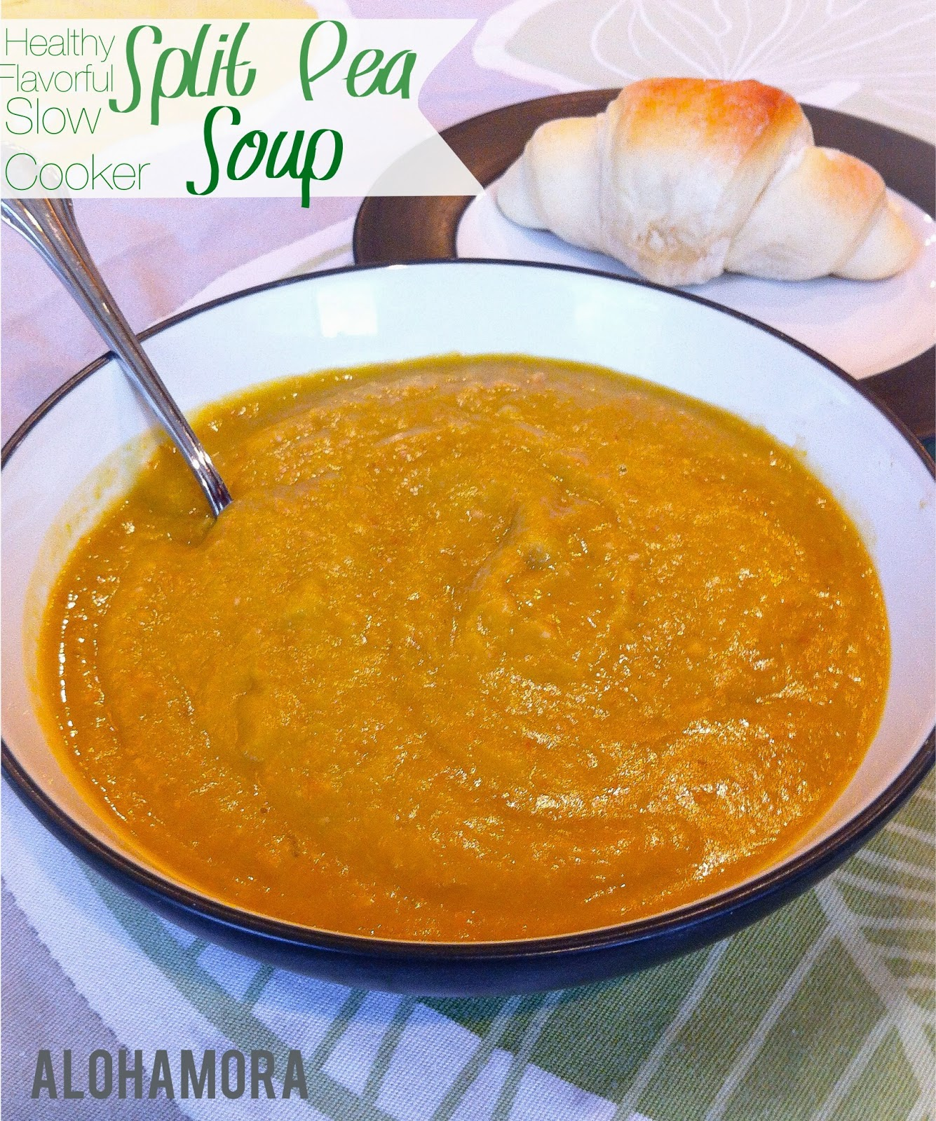 Split Pea Soup is healthy, flavorful, and diet friendly and so easy to make in a crock pot/slow cooker  Alohamora Open a Book http://alohamoraopenabook.blogspot.com/