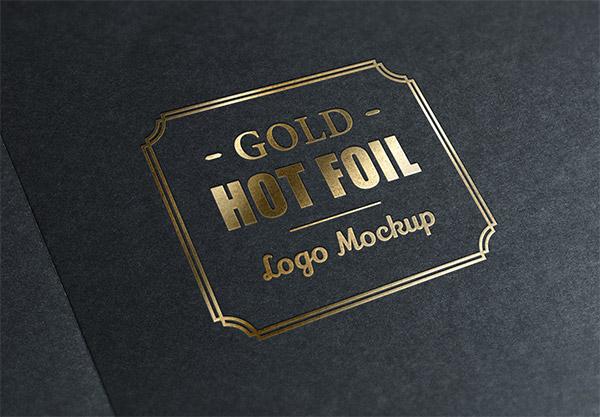 Download Logo Mockup PSD Terbaru Gratis - Gold Stamping Logo Mockup