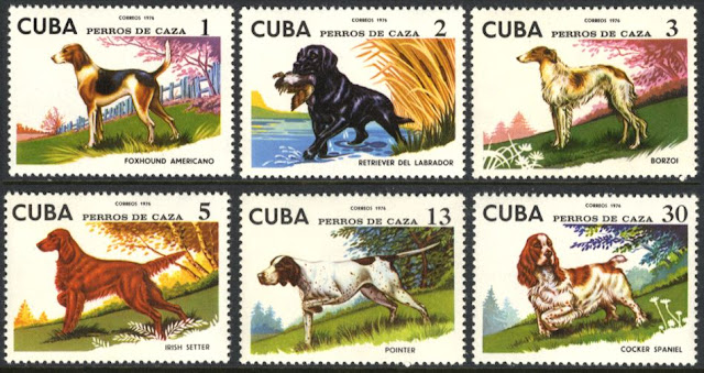1976年キューバ共和国 アメリカン・フォックスハウンド ラブラドール・レトリーバー ボルゾイ アイリッシュ・セター ポインター コッカー・スパニエルの切手