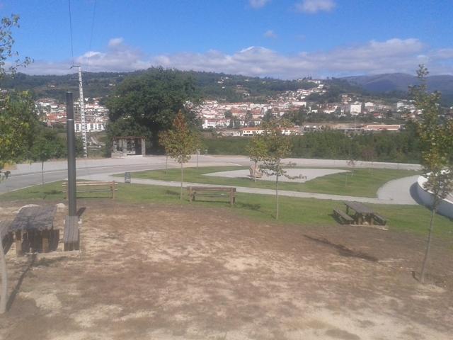 Zona verde e castanha do parque
