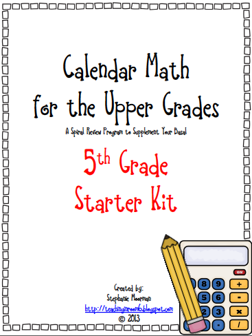 http://www.teacherspayteachers.com/Product/Calendar-Math-for-the-Upper-Grades-5th-Grade-Starter-Kit-776253