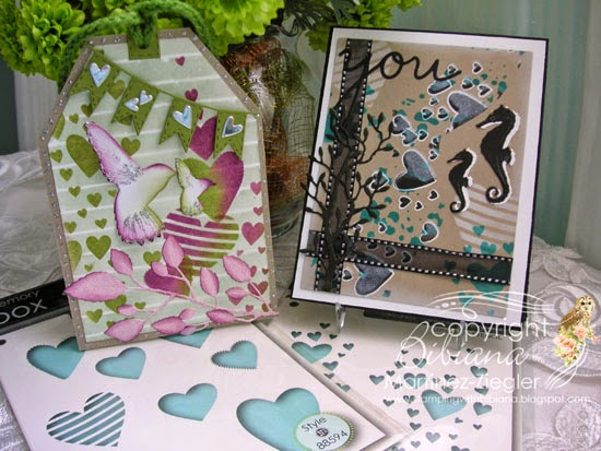 feminine tag and masculine card with same stencils