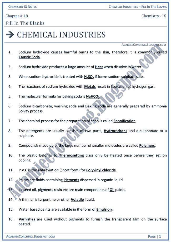 chemical-industries-fill-in-the-blanks-chemistry-ix