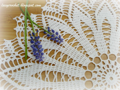 doily and grape hyacinth