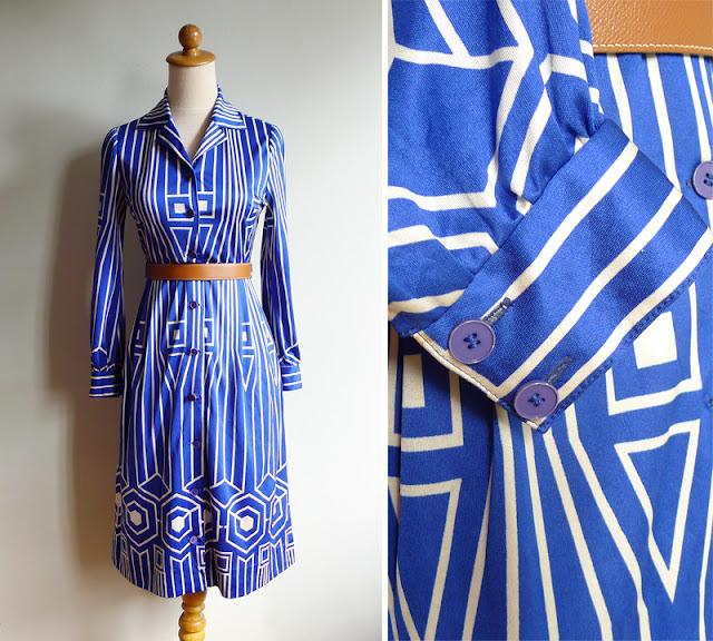 vintag cobalt blue op art dress