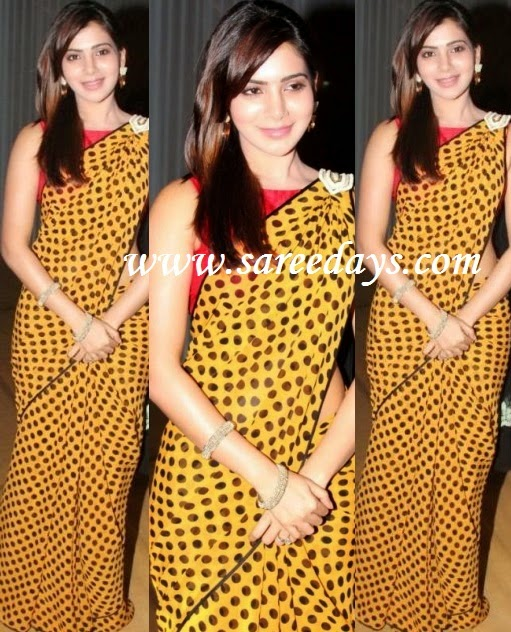 Latest saree designs samantha in mustard polka dots saree checkout actress samantha in mustard polka dots saree with printed polka dots all over the saree and black border and paired with red sleeveless designer altavistaventures Images
