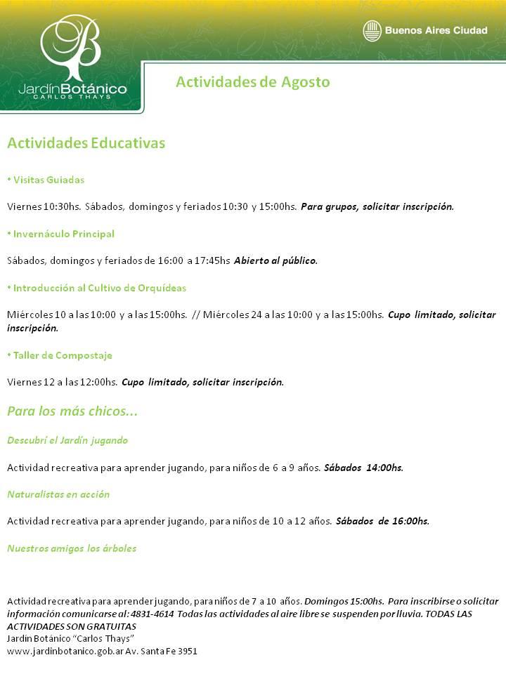 Pateando argentina actividades en el jard n bot nico for Programacion jardin botanico