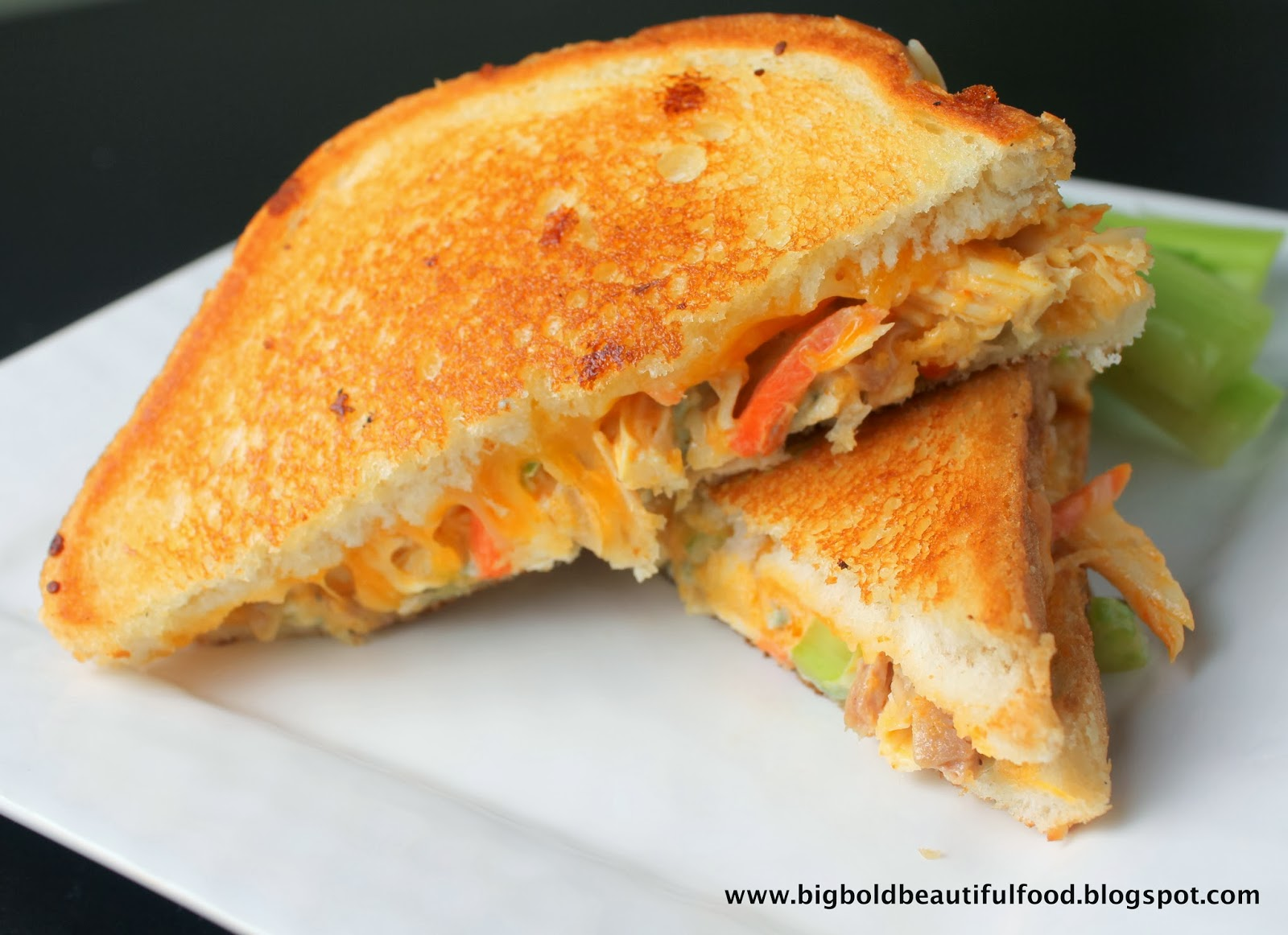 Big, Bold, Beautiful Food: Buffalo Chicken Grilled Cheese Sandwich