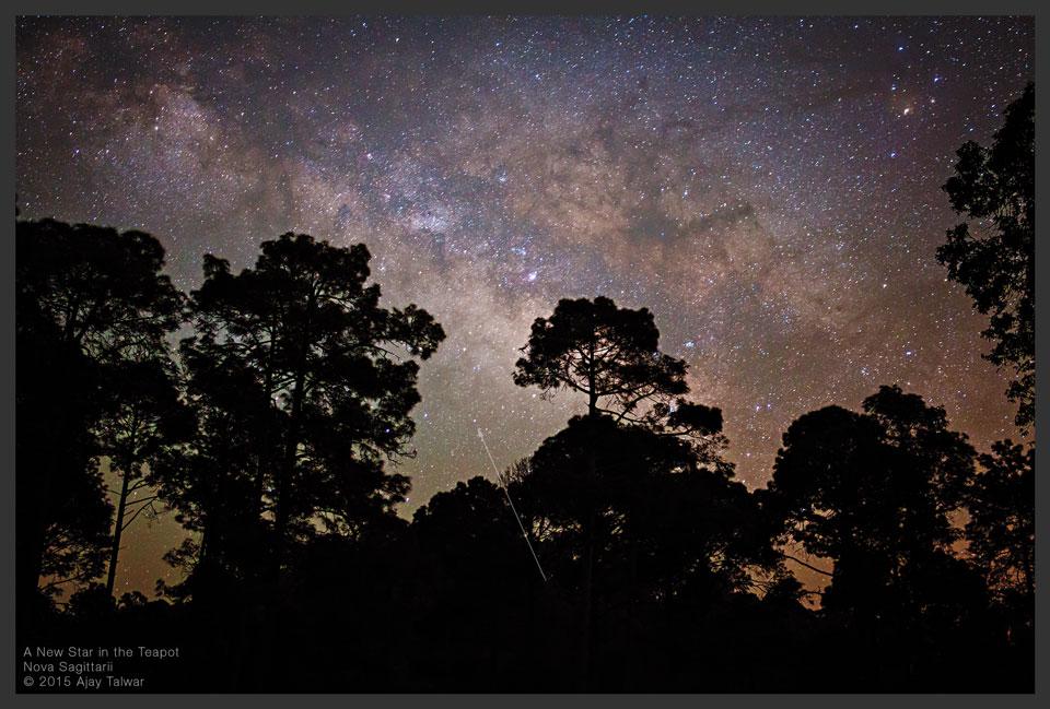 Tân tinh Sagittarii 2015 No. 2 quan sát bằng mắt thường. Tác giả : Ajay Talwar.