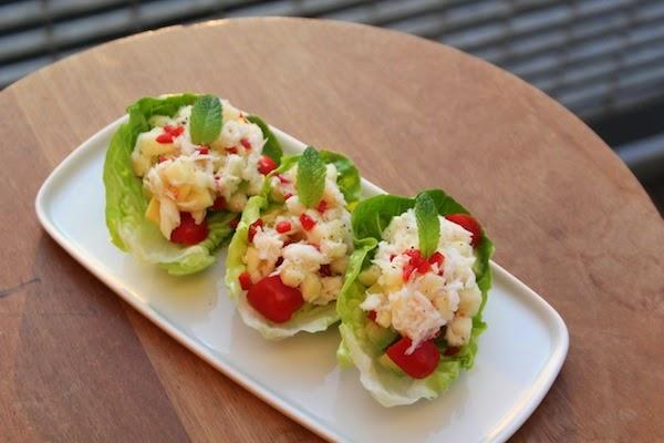 Crab salad served on lettuce gem leaves. This is a good way to serve ...