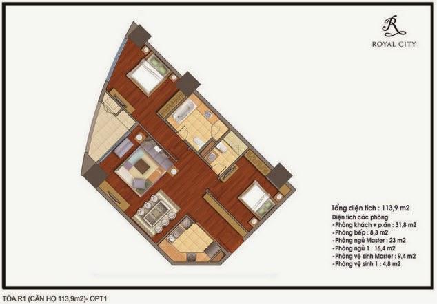 mặt bằng căn hộ 113.9m2 tòa R1 Royal City Nguyễn Trãi