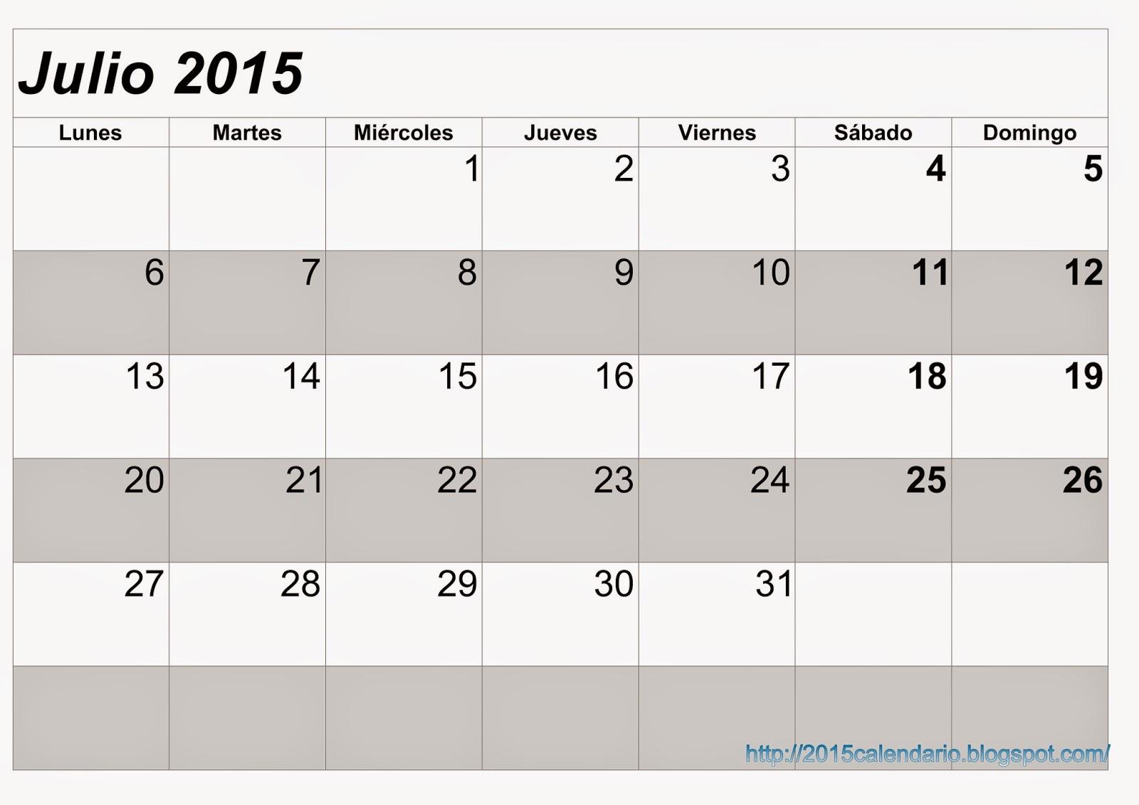 Calendario julio 2015 para imprimir for Calendario lunar junio