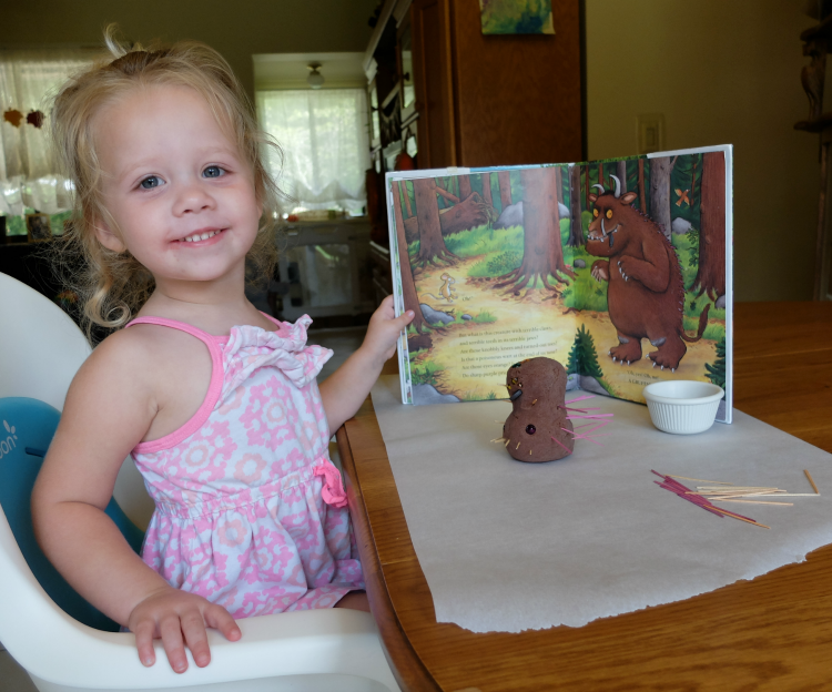 Gruffalo Play Dough activity, chocolate play dough