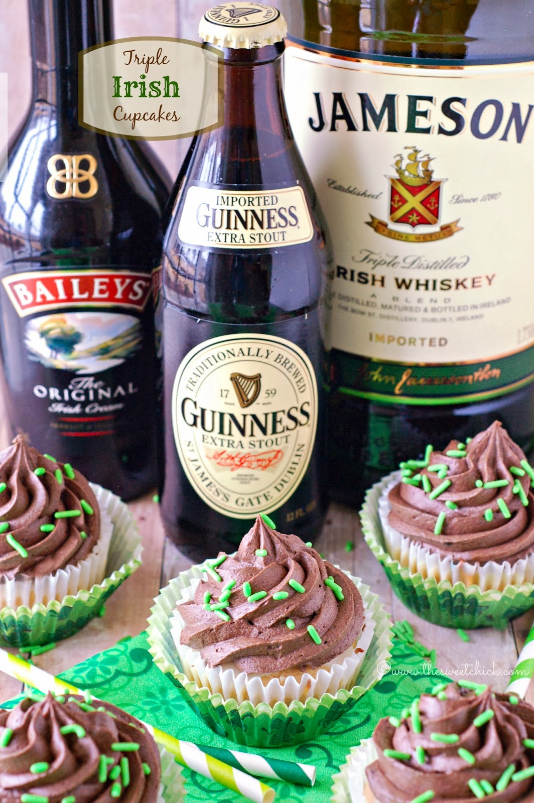 Triple Irish Cupcakes by The Sweet Chick
