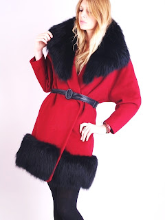 Vintage red wool belted Lilli Ann swing coat with black fur collar and cuffs