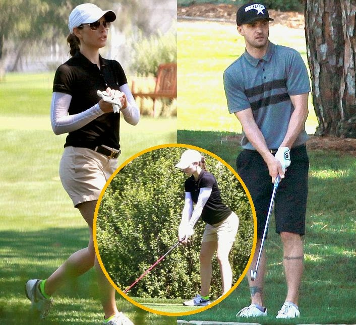 The couple enjoyed playing together at Lakeside Golf Club in Toluca lake, CA, USA on Sunday, June 29, 2014.