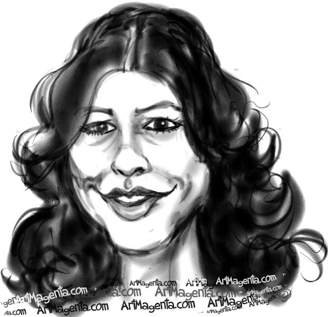 Catherine Zeta-Jones caricature cartoon. Portrait drawing by caricaturist Artmagenta.