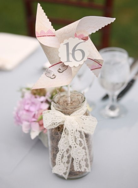 Mason Jar Wedding Ideas - Table Numbers with Pinwheel Number and Lace