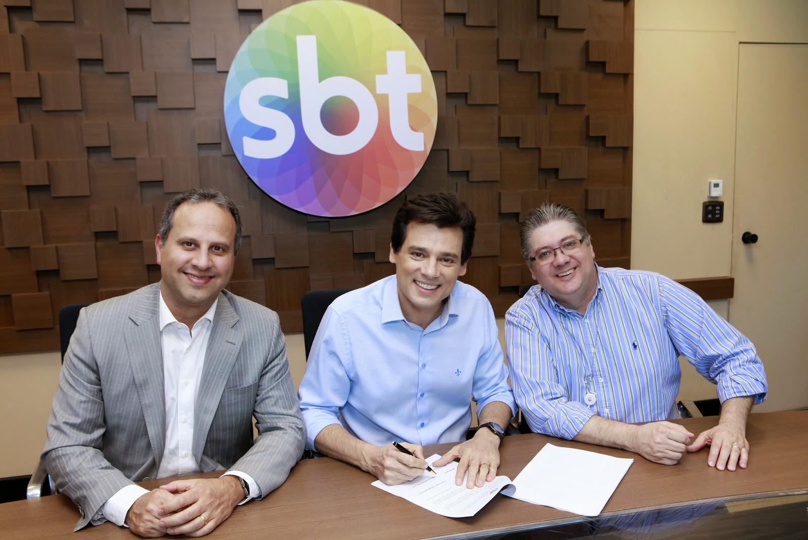 José Roberto Maciel, Vice Presidente do SBT ,Celso Portiolli e Leon Abravanel, diretor de Produções  (Crédito: Lourival Ribeiro/SBT)