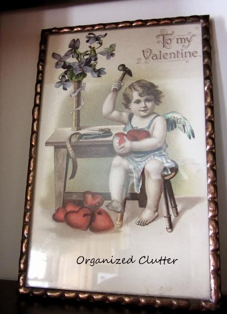 Vintage Valentine's Day Postcard Framed  www.organizedclutterqueen.blogspot.com