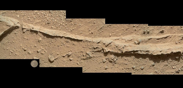This mosaic of four images taken by the Mars Hand Lens Imager (MAHLI) camera on NASA's Mars rover Curiosity shows detailed texture in a ridge that stands higher than surrounding rock. Image Credit: NASA/JPL-Caltech/MSSS